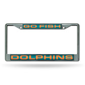 "Miami Dolphins ""GO FISH"" LASER Chrome Frame"