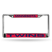 Minnesota Twins LASER Chrome Frame  - RED BACKGROUND WITH NAVY LETTERS
