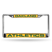 Oakland Athletics LASER Chrome Frame  - YELLOW BACKGROUND WITH DARK GREEN LETTERS