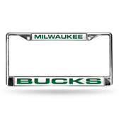 Milwaukee Bucks LASER Chrome Frame  - WHITE BACKGROUND WITH DARK GREEN LETTERS