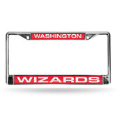 Washington Wizards LASER Chrome Frame  - RED BACKGROUND WITH WHITE LETTERS