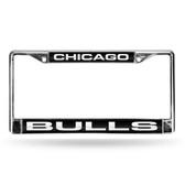 Chicago Bulls LASER Chrome Frame  - BLACK BACKGROUND WITH WHITE LETTERS