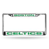 Boston Celtics LASER Chrome Frame  - WHITE BACKGROUND WITH GREEN LETTERS