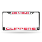 Los Angeles Clippers LASER Chrome Frame  - WHITE BACKGROUND WITH RED LETTERS