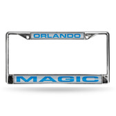 Orlando Magic LASER Chrome Frame  - SILVER BACKGROUND WITH ROYAL LETTERS