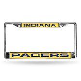 Indiana Pacers LASER Chrome Frame  - YELLOW BACKGROUND WITH NAVY LETTERS
