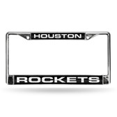 Houston Rockets LASER Chrome Frame  - BLACK BACKGROUND WITH WHITE LETTERS