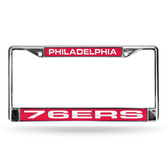 Philadelphia 76ers LASER Chrome Frame  - RED BACKGROUND WITH WHITE LETTERS
