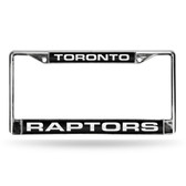 Toronto Raptors LASER Chrome Frame  - BLACK BACKGROUND WITH WHITE LETTERS