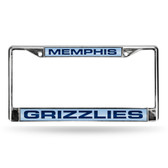 Memphis Grizzlies LASER Chrome Frame  - LIGHT BLUE BACKGROUND WITH NAVY LETTERS