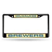 Milwaukee Brewers BLACK LASER FRAME W/GOLD INSERT