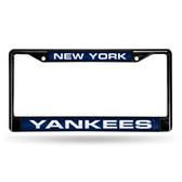 New York Yankees BLACK LASER FRAME W/NAVY INSERT