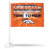 "Denver Broncos ""TIME TO RIDE"" Car Flag"