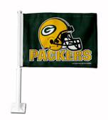 Green Bay Packers HELMET GREEN BKG Car Flag