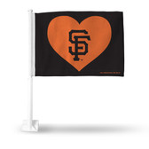 San Francisco Giants BLACK WITH ORANGE HEART Car Flag