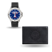 Texas Rangers MENS Black Watch and Wallet