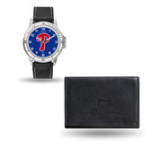 Philadelphia Phillies MENS Black Watch and Wallet