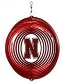 Nebraska Cornhuskers Circle Swirly Metal Wind Spinner