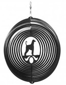 Afghan Hound Circle Black Wind Spinner
