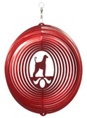 Afghan Hound Circle Red Wind Spinner