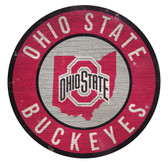 Ohio State Buckeyes Sign Wood 12 Inch Round State Design
