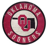 Oklahoma Sooners Sign Wood 12 Inch Round State Design