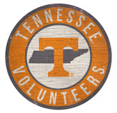 Tennessee Volunteers Sign Wood 12 Inch Round State Design