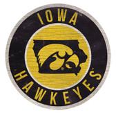 Iowa Hawkeyes Sign Wood 12 Inch Round State Design
