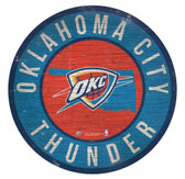 Oklahoma City Thunder Sign Wood 12 Inch Round State Design