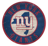 New York Giants Sign Wood 12 Inch Round State Design