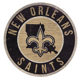 New Orleans Saints Sign Wood 12 Inch Round State Design