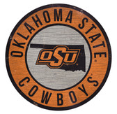 Oklahoma State Cowboys Sign Wood 12 Inch Round State Design