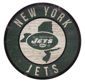 New York Jets Sign Wood 12 Inch Round State Design
