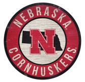 Nebraska Cornhuskers Sign Wood 12 Inch Round State Design