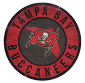 Tampa Bay Buccaneers Sign Wood 12 Inch Round State Design