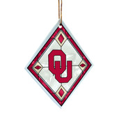 Oklahoma Sooners Art Glass Ornament