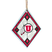 Utah Utes Art Glass Ornament