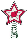 Wisconsin Badgers Art Glass Tree Topper