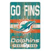 Miami Dolphins Sign 11x17 Wood Slogan Design