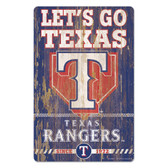 Texas Rangers Sign 11x17 Wood Slogan Design