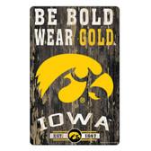 Iowa Hawkeyes Sign 11x17 Wood Slogan Design