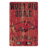 Arkansas Razorbacks Sign 11x17 Wood Slogan Design