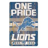 Detroit Lions Sign 11x17 Wood Slogan Design