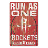 Houston Rockets Sign 11x17 Wood Slogan Design