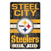 Pittsburgh Steelers Sign 11x17 Wood Slogan Design