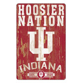 Indiana Hoosiers Sign 11x17 Wood Slogan Design