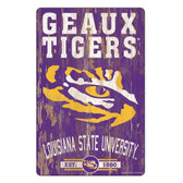 LSU Tigers Sign 11x17 Wood Slogan Design