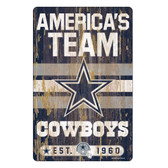 Dallas Cowboys Sign 11x17 Wood Slogan Design