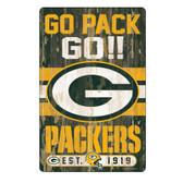 Green Bay Packers Sign 11x17 Wood Slogan Design