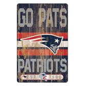 New England Patriots Sign 11x17 Wood Slogan Design